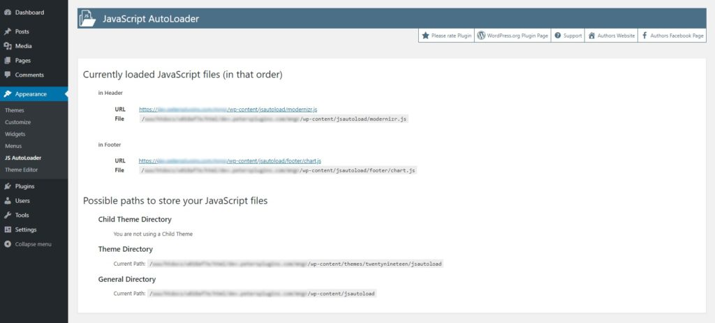 JavaScript AutoLoader - Free WordPress Plugin - Screenshot