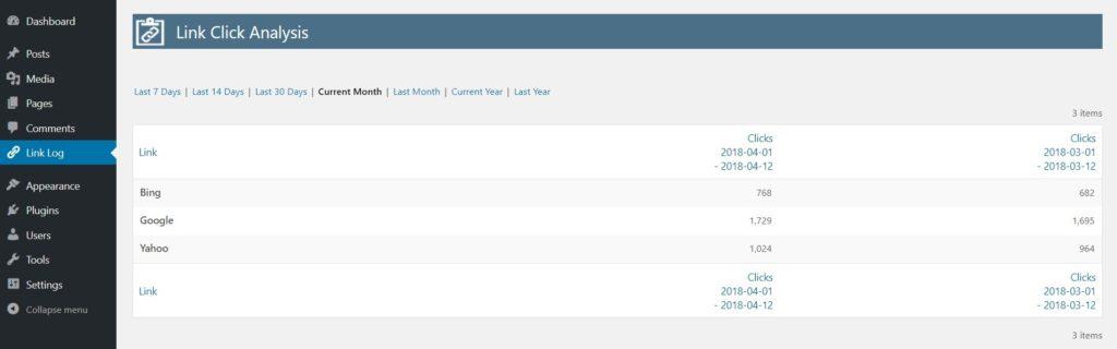 Link Log - external link click monitor - Free WordPress Plugin - Screenshot