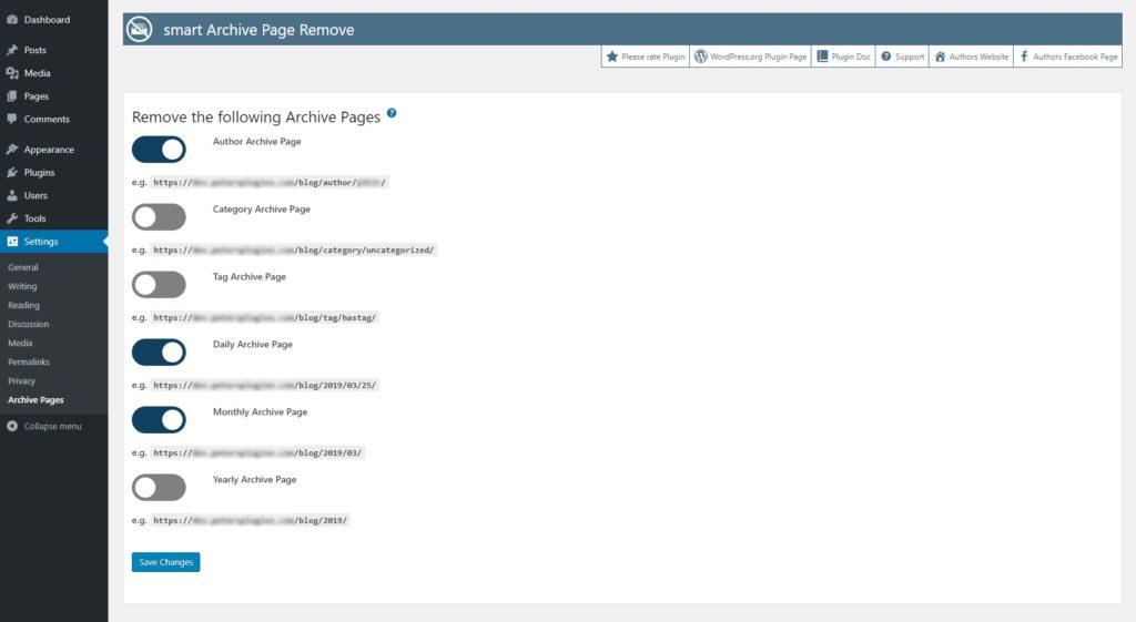 smart Archive Page Remove - Free WordPress Plugin - Screenshot