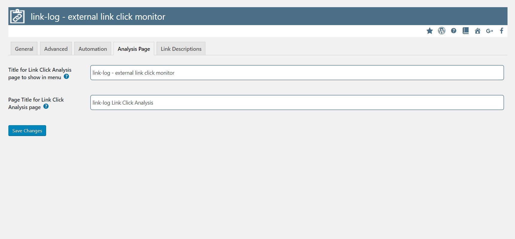 Free WordPress Plugin link-log by Peter's Plugins - Analysis Page Settings