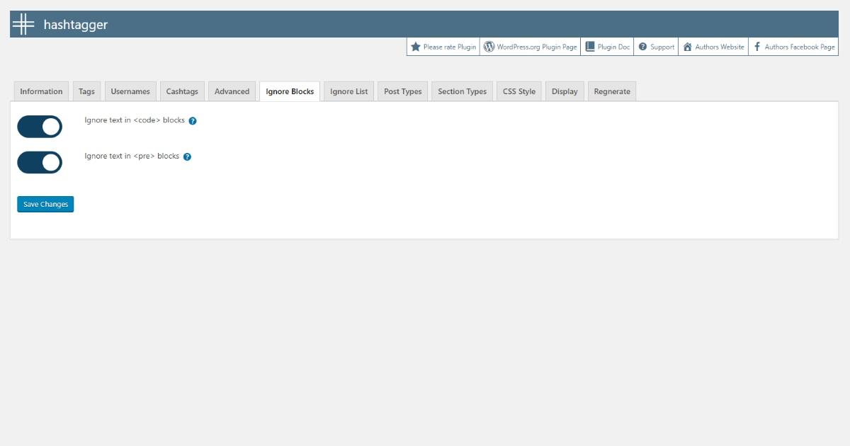 Ignore Blocks section - Settings - free WordPress plugin hashtagger