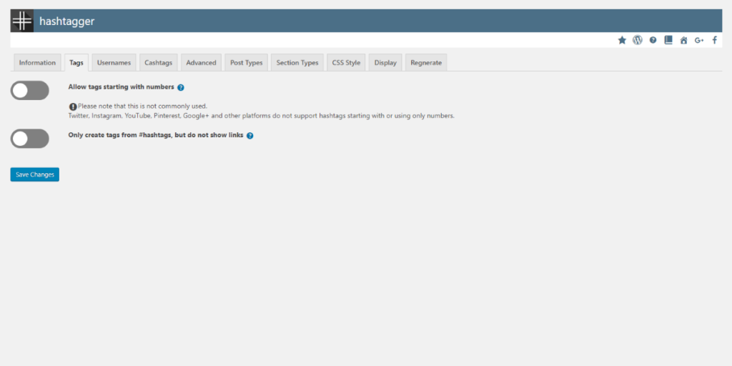 Tags section - Settings - free WordPress plugin hashtagger